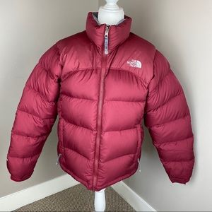 THE NORTH FACE MAROON RED 700 FILL PUFFER JACKET